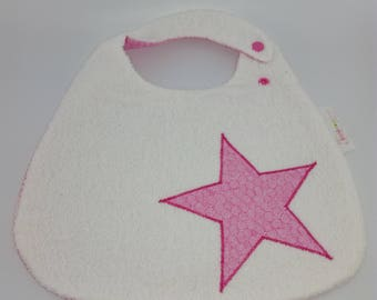 pink star white Terry bib
