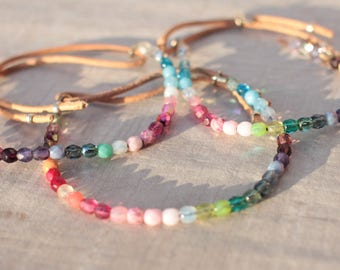 Bracelet perles en verre de boheme multicolore