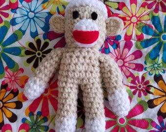 Handmade Crochet Sock Monkey Catnip Cat Toy with Organic Catnip