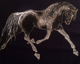 "Paint horse. Hand painted ""paint"" horse shirt. Can be made Gypsy Vanner! Ladies equestrian shirt"