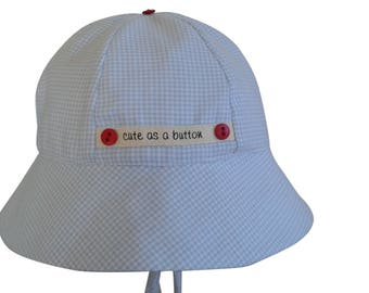 Cute As A Button Blue Gingham Check Flannel Baby Hat