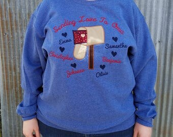 Personalized Sweatshirt -Sending Our Love - Embroidered & Applique Design With Names (Vintage Heather Blue Shown)