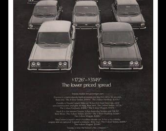 "Vintage Print Ad 1960s : Toyota Corona Corolla Mark II The Crown Automobile Car Wall Art Decor 8.5"" x 11"" each Advertisement"