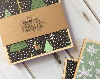 Christmas Coasters, Holiday Decor, Christmas Decor, Holiday Coasters, Stocking Stuffer, Stocking Filler, Hostess Gift, Gift for Mom, Coaster