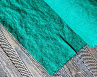 Washed jade green linen fabric by the meter, natural linen green fabric, electric blue green stonewashed linen fabric by the yard 7oz 200GSM