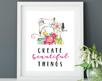 Sewing Art Print-Crafting Art Print-8 x 10 INSTANT DOWNLOAD-Craft Room Art Print-Sewing Room Wall Art-Sewing Machine Art