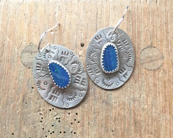 Opal earrings handmade sterling silver earrings Australian opal