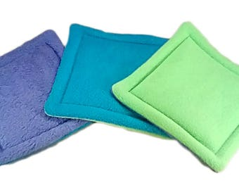 "Potty Pads set of 3 sizes 9"" to 20"" purple, blue green"