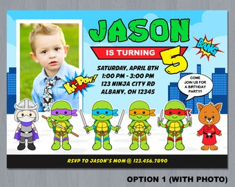 Ninja Turtle Invitation, Ninja Turtles invitation, Ninja Turtle Photo invitation, TMNT invitation