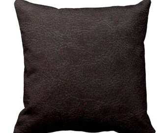 Brown Pillow, Throw Pillow, Faux Leather, Chair Pillow, Complete Pillow, Square Pillow, Handmade Pillow