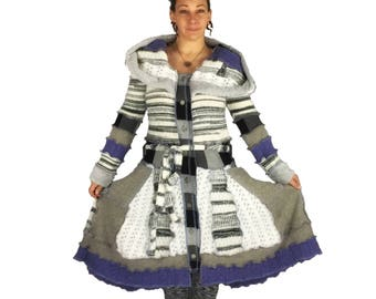 Recycled Hooded Sweater Coat - Size L-XL - Upcycled Sweater Coat - Reanimated Clothing