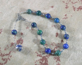 Gaia (Gaea) Pocket Prayer Beads in Azurite-Malachite: Mother Earth, Mother of the Gods, Mother of All That Is.