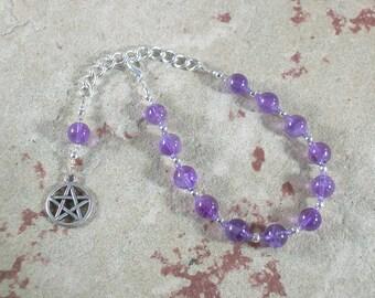 Pentacle Prayer Bead Bracelet in Amethyst