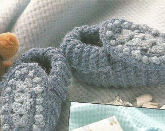 Crochet Baby Booties Denim Blues  for Infants or Child/ OhhhBabyBaby/Vintage Pattern Instant Download PDF