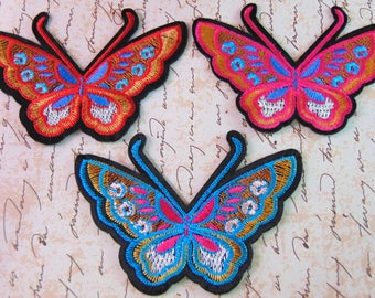 Butterfly Iron On Patches Red Blue Pink Flying Insect Lepidoptera Clothing Applique Ready to Use Hot Fix  Badge for Customised Clothing UK