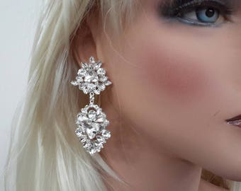 Rhinestone Chandelier Cluster Drop Earrings