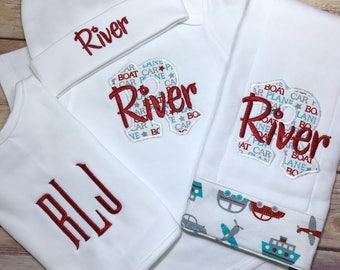 Baby Boy COMING HOME Outfit - Monogram Boat Bodysuit, Red Personalized Baby Bodysuit Outfit , Take Home Outfit Newborn Baby Boy Outfit