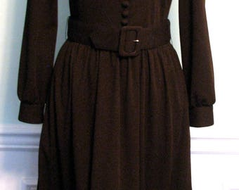 Vintage Dress Victor Costa Designer Dress Fur Lillie Rubin Brown
