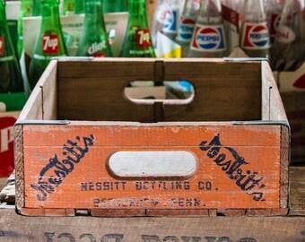 Vintage Nesbitts Orange Soda Crate Bethlehem PA Pennsylvania Soda Pop Advertising Sign Box Wooden Crate Rustic Home Decor Old Bottle Box