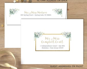 Succulent Envelopes with Guest & Return Address Printing / Greenery Geometric, Green Succulent Cactus and Gold ▷ INVITE {or} RSVP Envelopes