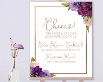 Purple Signature Cocktail Sign / Alcohol Drink Bar Sign / Purple Flowers, Anemone, Peony, Rose Gold ▷ Printed Paper, Canvas {or} Printable