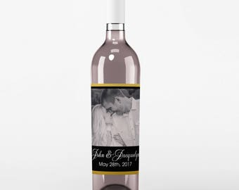 Wedding Photo Wine Labels with Your Photo - Photo Wedding Favor - Your Photo Wine Bottle Labels - Custom Label - Gold Black White