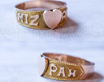 Late Victorian MIZPAH Heart Ring in 9k Gold, c1899