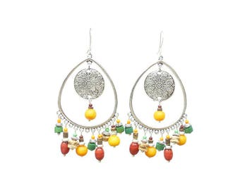 925 Sterling Silver Oval stud earrings and colorful stones.  Earrings red and yellow beads and silver candlesticks.