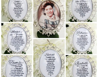 Silver Personalised Bouquet Charms For Flower Girl Bridesmaid Maid Of Honour Mother of the Bride Mother Of The Groom Photo Memory Charms