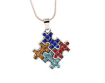 Autism Puzzle Pieces Rhinestone Charm Silver Plated Necklace 20 Inches