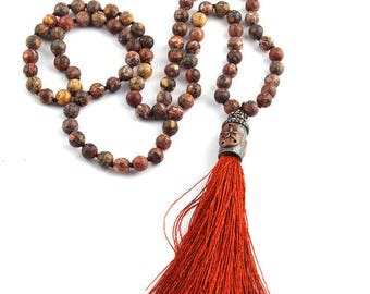 Autumn Red Jasper Stone Hand Knotted Tassel Necklace 32 Inches
