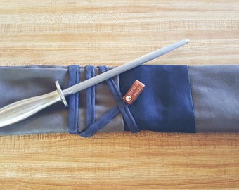 Navy & Charcoal 5 slot Knife roll, knife case, chef roll personalized with initials made with taupe suede (Handcrafted)