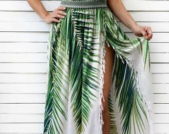 Beach Maxi Skirt, Summer Skirt, Maxi Skirt, Bohemian Maxi Skirt, High Waist Skirt, Tropical Print, Palm Trees