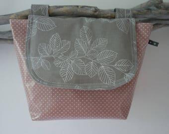 waterproof handlebar bag vintage dusky pink and grey