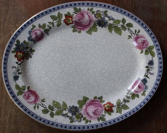"Vintage Victorian Edwardian Era China FURNIVALS LIMITED 11"" Oval Platter Serving Tray 1522b c1890-13"
