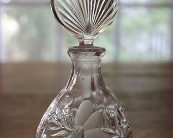 Vintage Small Glass Perfume Bottle Floral Design Ornate Top