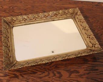 Vanity Mirror Dresser Perfume Rectangle Tray Vintage Ornate Gold Frame 14.5x10.5
