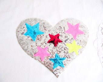 Lioni Heart With Star,Star Heart Patch,Silver Sequin Heart Patch,Silver Heart Applique,Stars Patch,