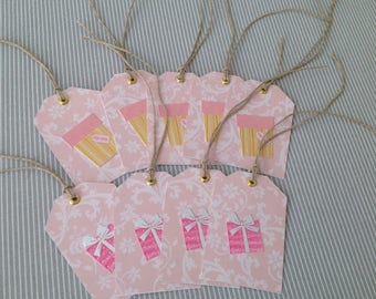 Set of 9 labels gift tags to hang with ties linen Twine. Set 1.