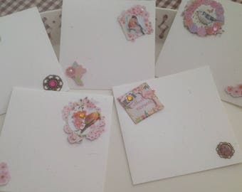 Set of 5 cards double collection birds color pink