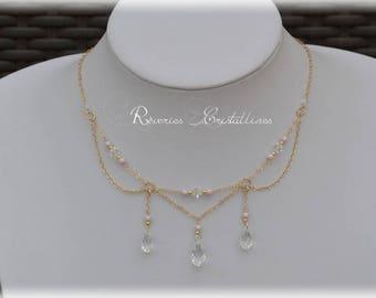 Wedding necklace, Swarovski Crystal, pearls Pearly - swarovski bridal necklace, gold filled necklace, crystal drop necklace