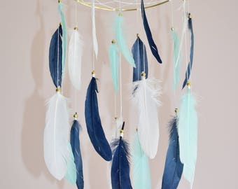 Baby Boy Mobile, Dreamcatcher Mobile, Baby Nursery Decor, Navy Blue  White Mint Feathers, Blue Nursery Decor, Tribal Nursery Decor