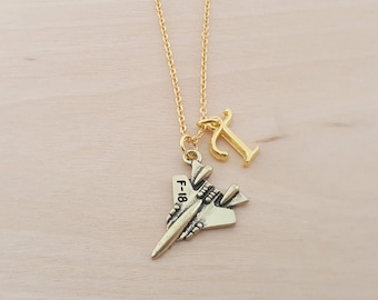 Airplane Necklace - Travel Necklace - Personalized Necklace - Custom Initial Necklace- Gold Necklace