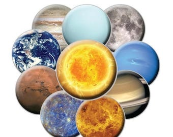 SALE - Planetary Magnet Set - 10 Magnets - 2.25 Planet Magnets - Space Magnets