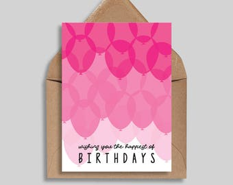 Wishing You the Happiest of Birthdays, Ombre Balloon Card, Birthday Card, Greeting Card