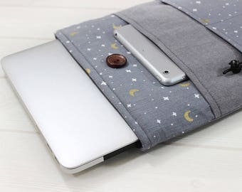 Dainty laptop case, 11 Macbook Air case, New Macbook case, Unique laptop sleeve, 12 laptop sleeve, Moon and stars case, Gray linen sleeve
