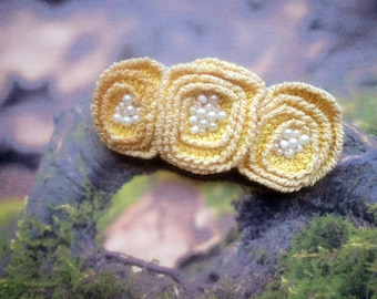 Yellow floral boho brooch, beaded knitted brooch, boho style brooch