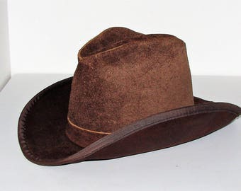Suede Leather Cowboy Cowgirl Hat Never Worn Union Made Tag