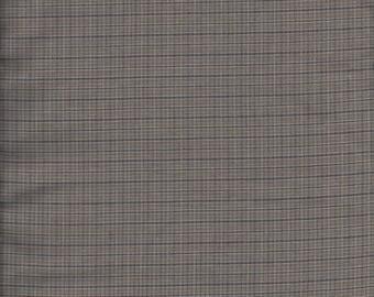 1 yard+  Tan & Blue plaid fabric