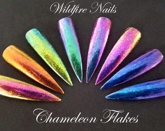 Unicorn Mermaid Metallic Duo-Chrome Chameleon Glitter Flakes Colour-Changing Nail Art Salon Chrome Powder